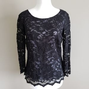 Spanner,  black lace top, satin lining, size 4